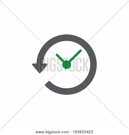 Clock with arrow around icon vector filled flat sign solid colorful pictogram isolated on white. History symbol logo illustration. Pixel perfect