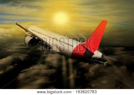 Plane travel Sunset risen Sun clouds on the plane nature background
