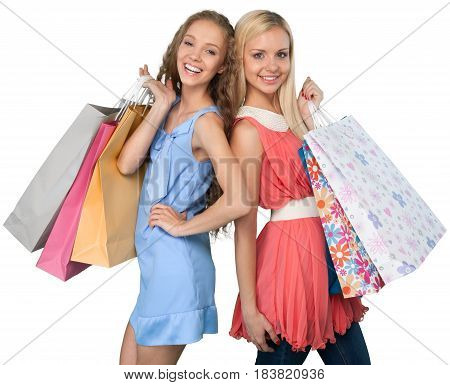 Portrait of Two Beautiful Girlfriends / Sisters with Shopping Bags