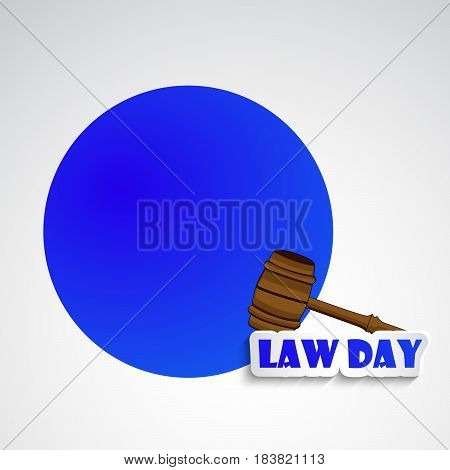 Illustration of gavel for law Day with blue circle