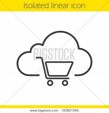 Buy cloud storage space linear icon. Shopping cart thin line illustration. Cloud computing contour symbol. Vector isolated outline drawing
