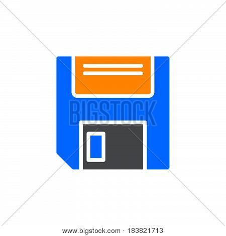 Floppy disk icon vector filled flat sign solid colorful pictogram isolated on white. Save symbol logo illustration. Pixel perfect