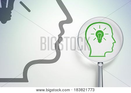 Information concept: magnifying optical glass with Head With Lightbulb icon on digital background, empty copyspace for card, text, advertising, 3D rendering