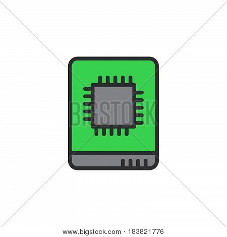 Solid state drive line icon filled outline vector sign linear colorful pictogram isolated on white. SSD symbol logo illustration. Editable stroke. Pixel perfect