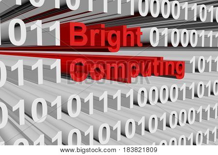 Bright Computing as a binary code 3D illustration