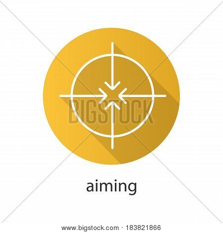 Aiming flat linear long shadow icon. Abstract metaphor. 4 arrows aiming to the center. Vector line symbol