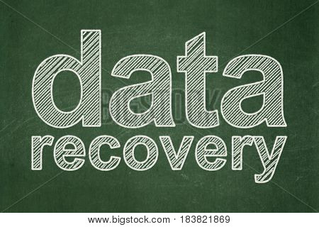 Information concept: text Data Recovery on Green chalkboard background
