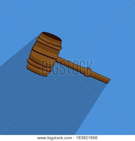 Illustration of gavel icon on blue background