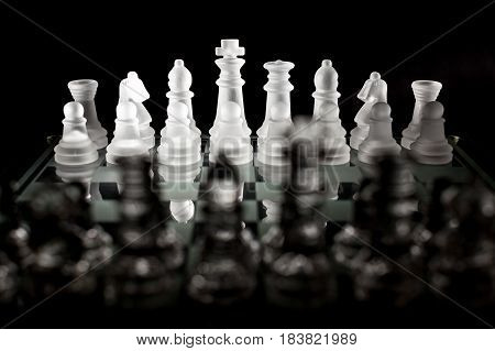 View of the White Side of a Chessboard from Behind the Black Side