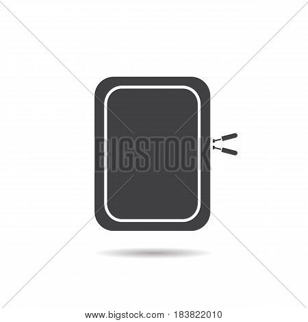 Gadget protective case glyph icon. Drop shadow silhouette symbol. Negative space. Vector isolated illustration