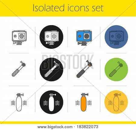 Action camera icons set. Linear, black and color styles. Floating grip, action cam in protection case, monopod. Isolated vector illustrations