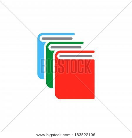 Books library icon vector filled flat sign solid colorful pictogram isolated on white. Symbol logo illustration. Pixel perfect