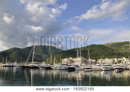 View of Porto Montenegro Tivat city Montenegro