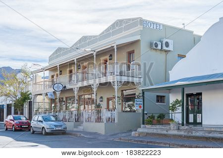 MONTAGU SOUTH AFRICA - MARCH 25 2017: The Victorian an historic hotel in Montagu in the Western Cape Province