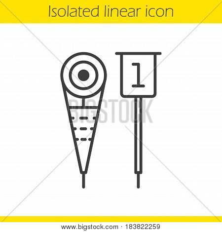 American football sideline markers linear icon. Thin line illustration. Contour symbol. Vector isolated outline drawing