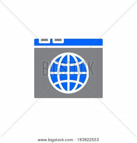 Browser and globe icon vector filled flat sign solid colorful pictogram isolated on white. Internet symbol logo illustration. Pixel perfect