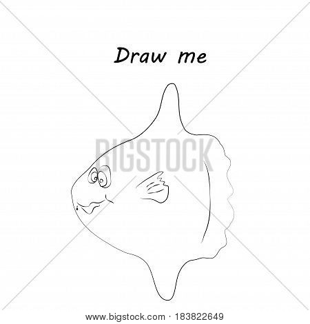 Draw me - vector illustration of sea animals. The clownfish coloring game for children
