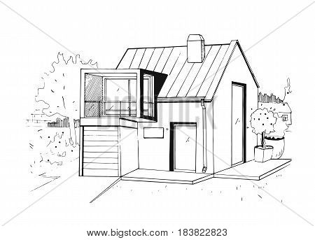 Hand drawn country house. modern private residential house. black and white sketch illustration