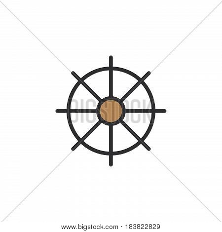 Ships wheel helm line icon filled outline vector sign linear colorful pictogram isolated on white. Symbol logo illustration. Editable stroke. Pixel perfect