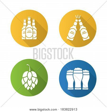Beer flat design long shadow icons set. Hop cone, beer bottles and glasses. Vector silhouette symbols