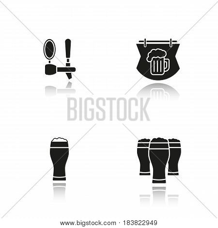 Beer pub drop shadow black icons set. Wooden bar signboard, foamy beer glasses and tap. Isolated vector illustrations