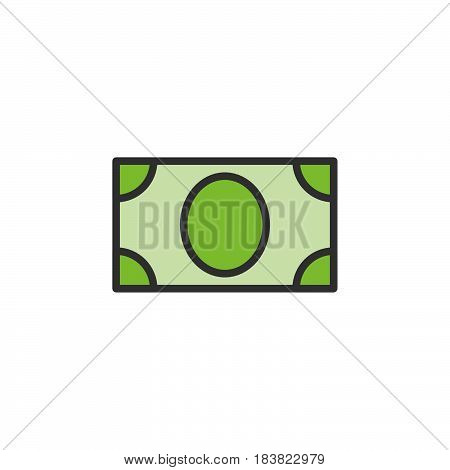 Paper money banknote line icon filled outline vector sign linear colorful pictogram isolated on white. Symbol logo illustration. Editable stroke. Pixel perfect