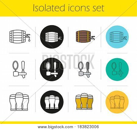 Beer icons set. Linear, black and color styles. Alcohol wooden barrel, beer tap and full foamy glasses. Isolated vector illustrations