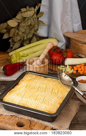 Shepherd's Pie Traditional English Dish. Recipe With Minced Beef, Lamb, Carrot, Onion, Celery, Mashe