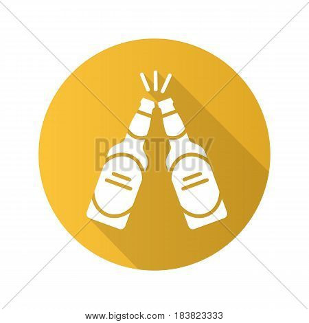 Toasting beer bottles. Flat design long shadow icon. Pub and bar sign. Vector silhouette symbol