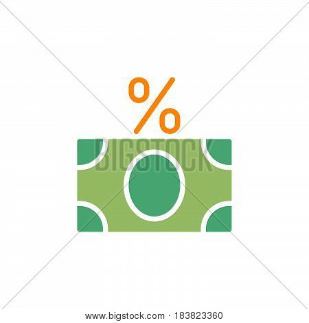 Money banknote with percent sign icon vector filled flat sign solid colorful pictogram isolated on white. Fees symbol logo illustration. Pixel perfect