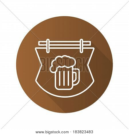 Wooden bar signboard. Flat linear long shadow icon. Tavern. Pub sign with foamy beer glass. Vector line symbol