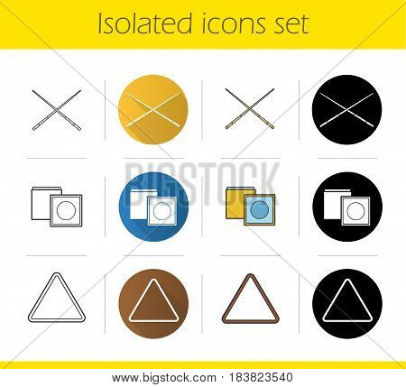 Billiard icons set. Flat design, linear, black and color styles. Chalks, cues, triangle ball rack. Vector