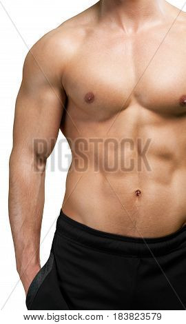 Chest and arms of a physically fit shirtless male