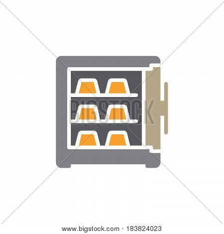 Safe full of gold bars icon vector filled flat sign solid colorful pictogram isolated on white. Symbol logo illustration. Pixel perfect