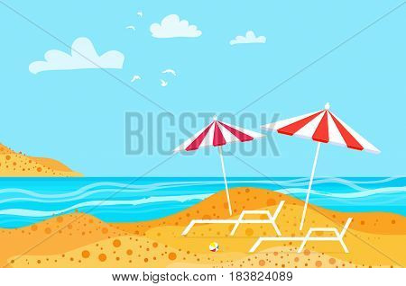 Summertime. Parasols on the beach. Ocean. Summer resort vacation background. Rest. Water beach vacation. Vector Design illustration.