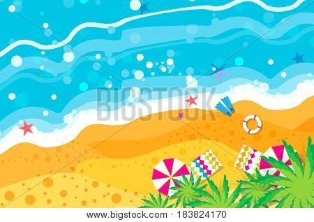 Top view Summer vacation. Beach rest. Time to travel. Sea, waves, sand and umbrella, palm. Vector design background and objects illustrations