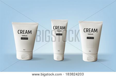Package design cosmetic products. White realistic tube set. Vector illustration cream template.