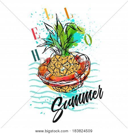 Hand drawn vector abstract tropical illustration with pineapple in red lifebuoy on sea waves, freehand textures and modern calligraphy summer time quote Hello Summer isolated on white background.