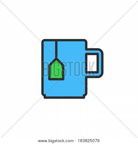 Mug with tea bag line icon filled outline vector sign linear colorful pictogram isolated on white. Symbol logo illustration. Editable stroke. Pixel perfect