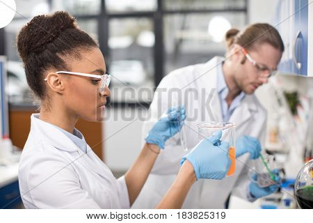 Side View Of Concentrated Scientists Working In Laboratory