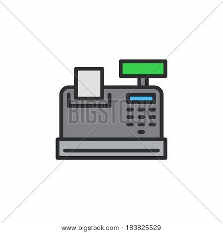 Cash register line icon filled outline vector sign linear colorful pictogram isolated on white. Symbol logo illustration. Editable stroke. Pixel perfect
