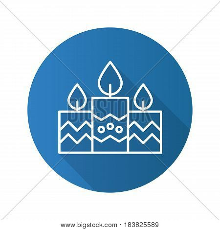 Church candles flat linear long shadow icon. Vector line symbol
