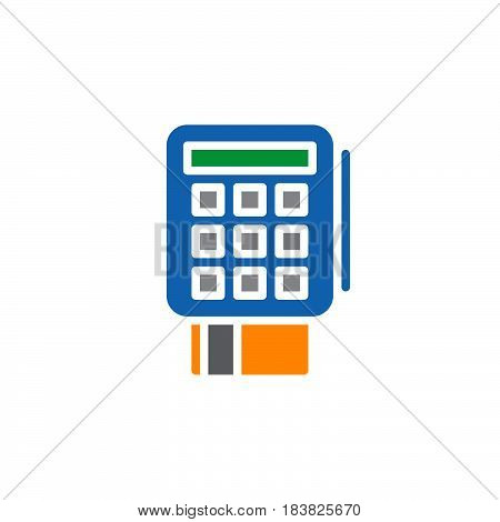 credit card terminal icon vector filled flat sign solid colorful pictogram isolated on white. Symbol logo illustration. Pixel perfect