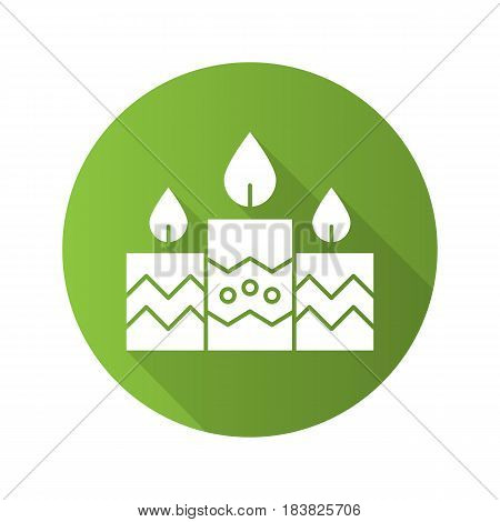 Church candles flat design long shadow icon. Vector silhouette symbol