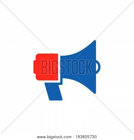Megaphone bullhorn icon vector filled flat sign solid colorful pictogram isolated on white. Announcement symbol logo illustration. Pixel perfect