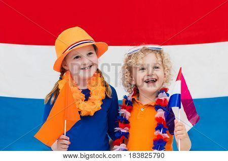 Dutch Kids. Children With Flag Of Netherlands. Holland Fans