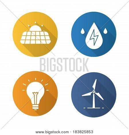 Eco energy flat design long shadow icons set. Solar panels, windmill, water energy, light bulb. Vector silhouette illustration