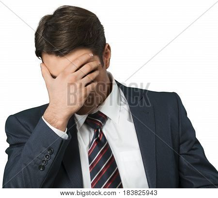 Man Doing Facepalm and Cover His Eyes and Face with Palm - Isolated
