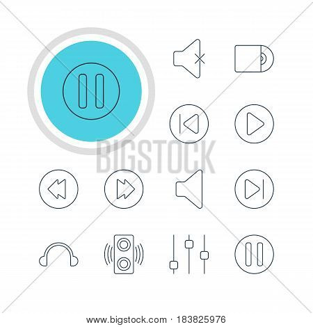 Vector Illustration Of 12 Melody Icons. Editable Pack Of Speaker, Stabilizer, Reversing And Other Elements.