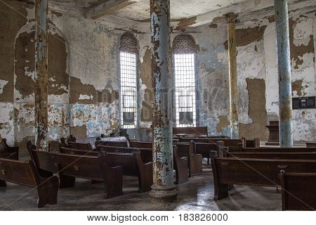Mansfield, Ohio, USA - April 18, 2017: Abandoned chapel at the Ohio State Reformatory Prison, The prison closed in 1990 and is now a reportedly haunted tourist destination open to the public
